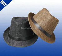 Good quality mens paper straw summer fedora hat