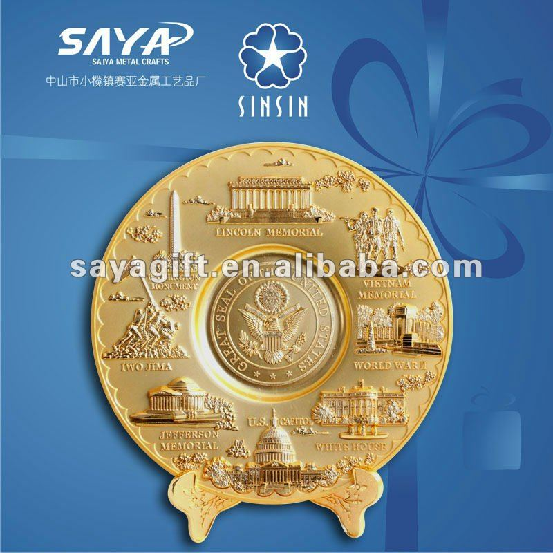 hottest selling factory direct sale customized country souvenir plate with gold