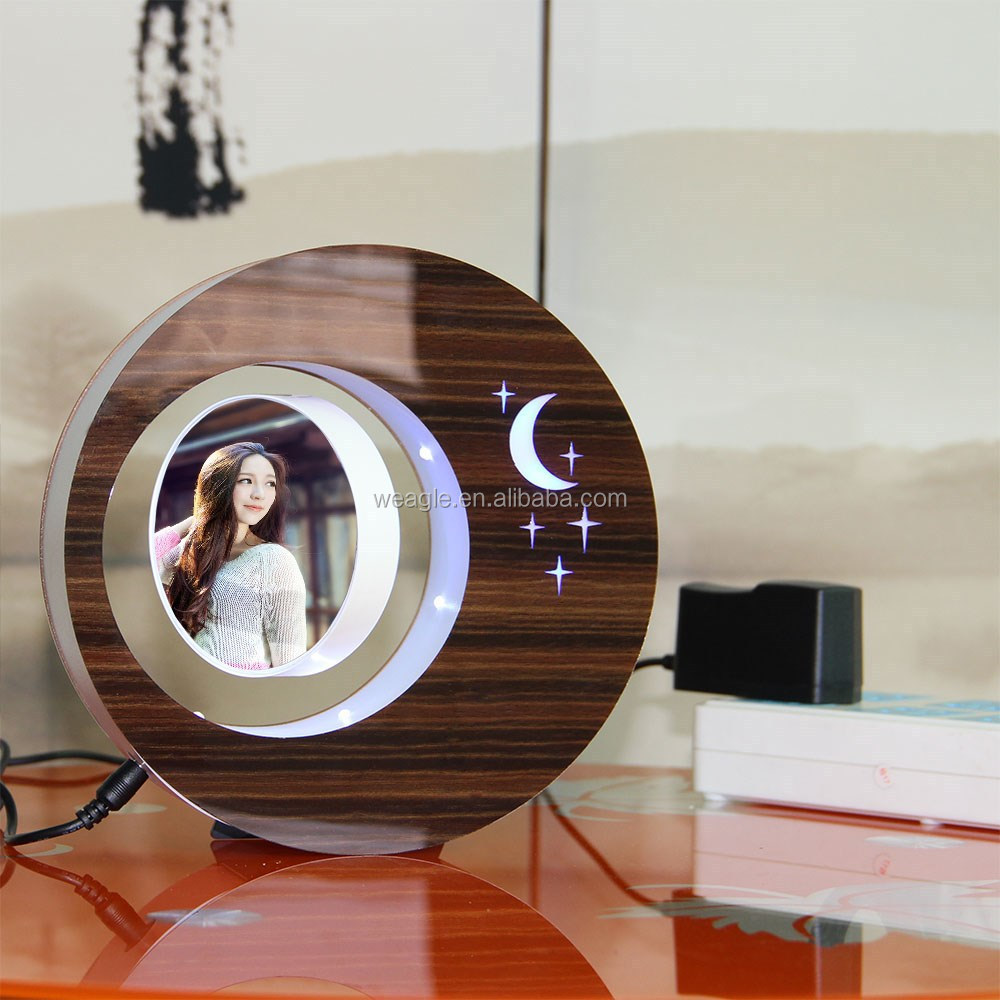LED suspending in the air magnetic levitation photo frame gift items low cost