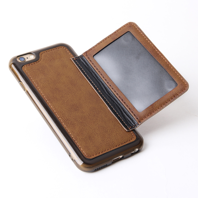 Small Moq Luxury Leather Card Smart Phone Case for iPhone 6S 6 Plus