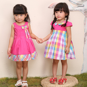 pink plaid cotton baby dress for twins,hot sale Rose Kelly baby clothes dress