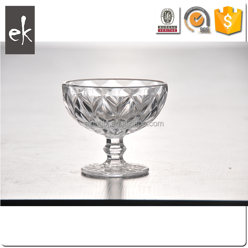 Round Shape Diamond Cheap Wine Glasses Ice Cream Cups/Small Glass Salad Bowls