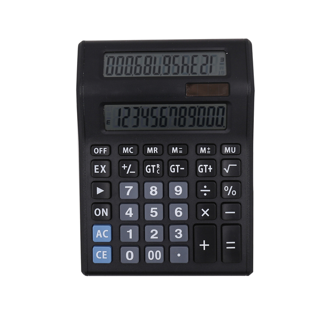 12 Digit Dual Power Large Digital Calculator with Double Screen