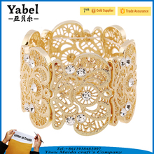 Metal Italy Lace Pattern Etched Filigree Jewelry Crystal Stretch Bracelet