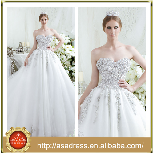 DS-03 Heavy Beaded Strapless Wedding Dresses with Ruffles Ball Gown Sweetheart Neckline Fit Bodice Vestidos De Noiva Modelo 2015