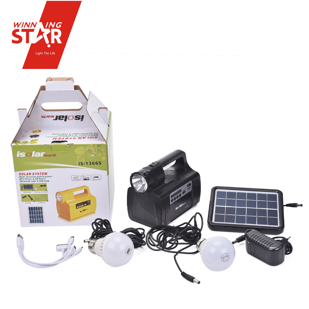 Rechargeable Power Bank SUB TF Speaker Fm Radio Solar Lighting Home Solar Panel System