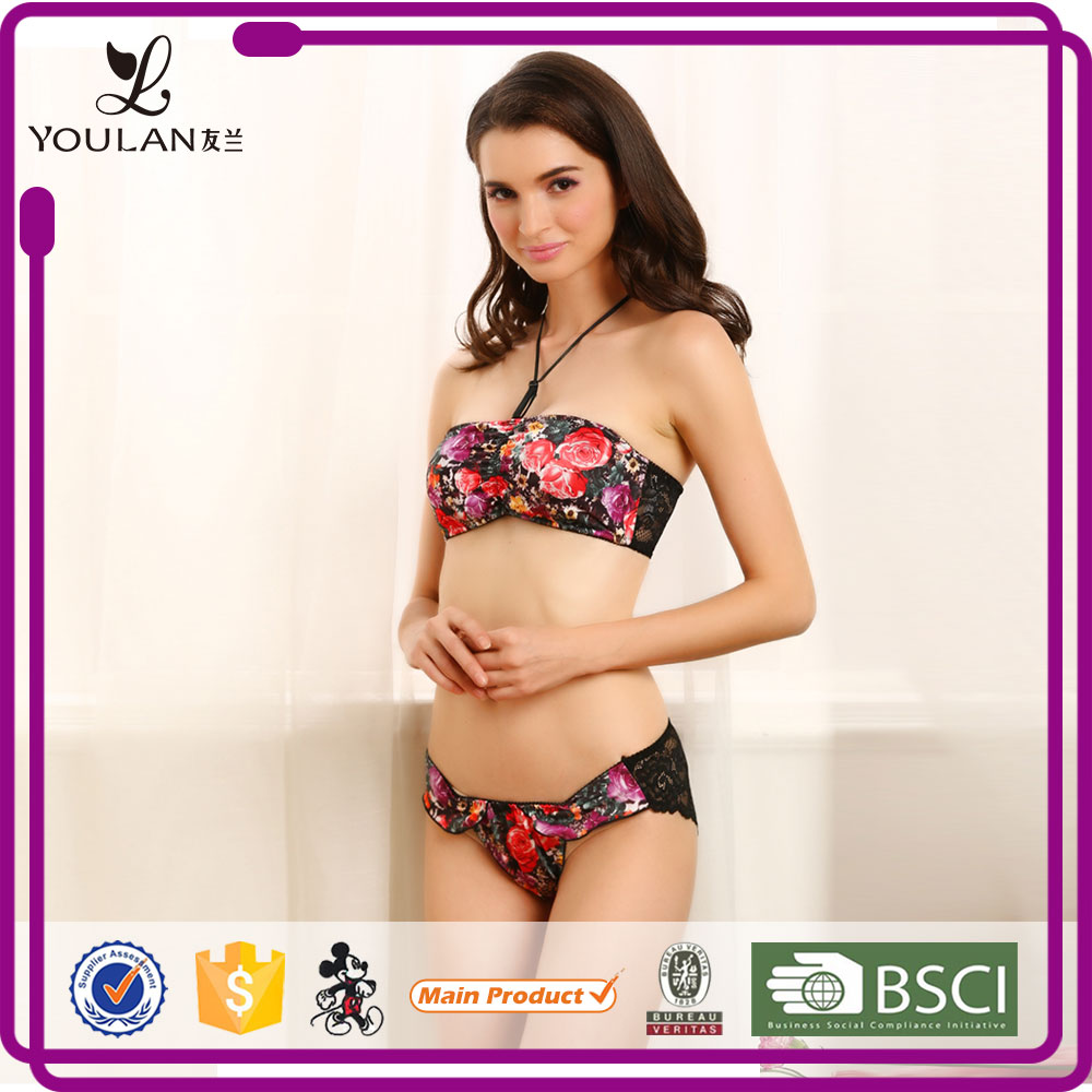 Lace Pattern Beautiful Sexual attraction sexy red school girls bra and underwear