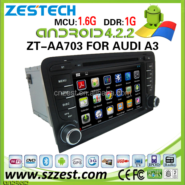 AM/FM car radio android 4.2.2 for audi a3 dvd gps navigation with WIFI/BT/SWC/USB
