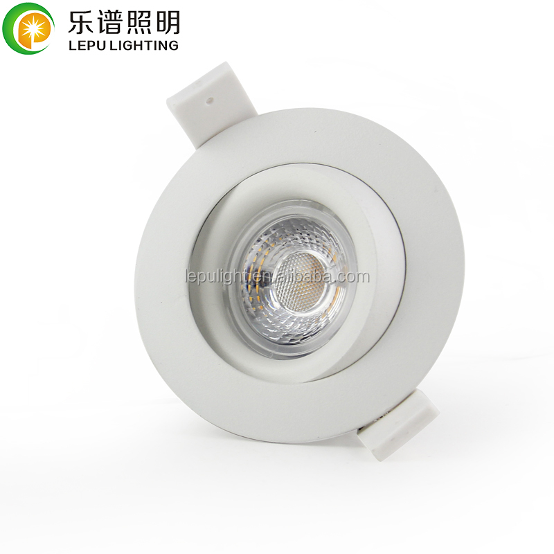 GYRO Anti-glare spring clip cct dimming recessed cob led downlight 7w
