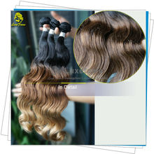 Luxefame Hair products verification natural color full ends 3 tones brazilian ombre hair weave