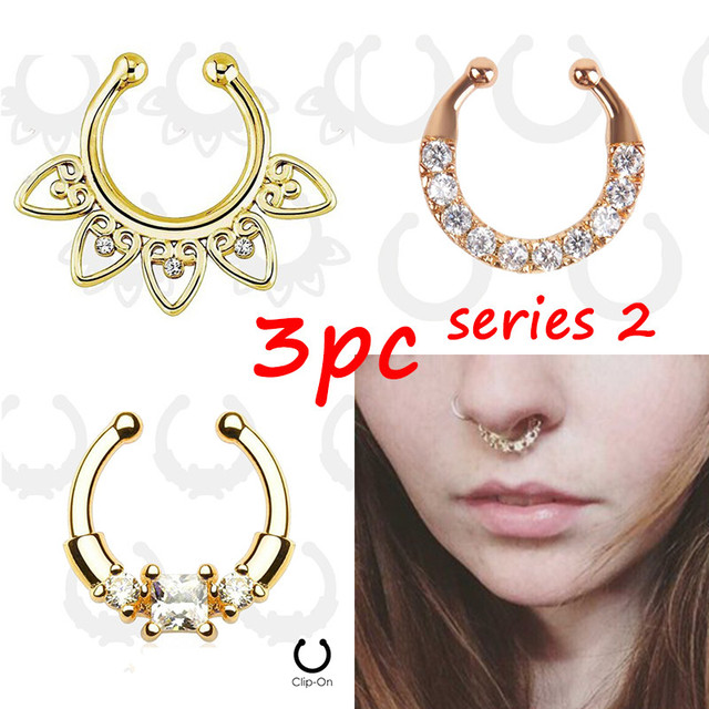 3 PCS Gold clicker fake septum For Women Body Clip Hoop fake nose ring Faux Piercing + Body Jewelry non 2016 Wholesale