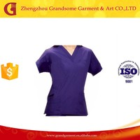 Purple 100% Polyester Medical Scrubs from China