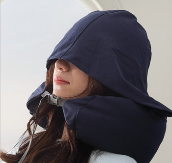 Japanese-style U-shaped pillow good multi-function neck  Cervical pillow lunch break hooded  Travel aircraft pillow