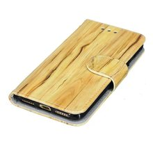 Wood Pattern Wallet Flip Stand TPU + PU Leather Case with Magnetic Closure for iPhone 6 Plus