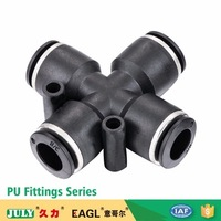 JULY made high quality pneumatic 4 way plastic cross joint pipe quick push-in fittings