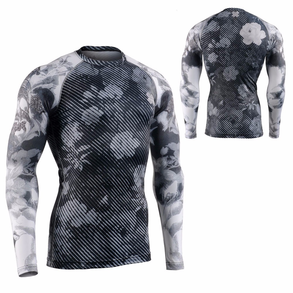 long sleeve men's custom sublimation compression shirt