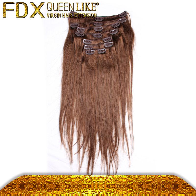 Without chemical process real virgin clip in hair extension single strand #6 20inch hair