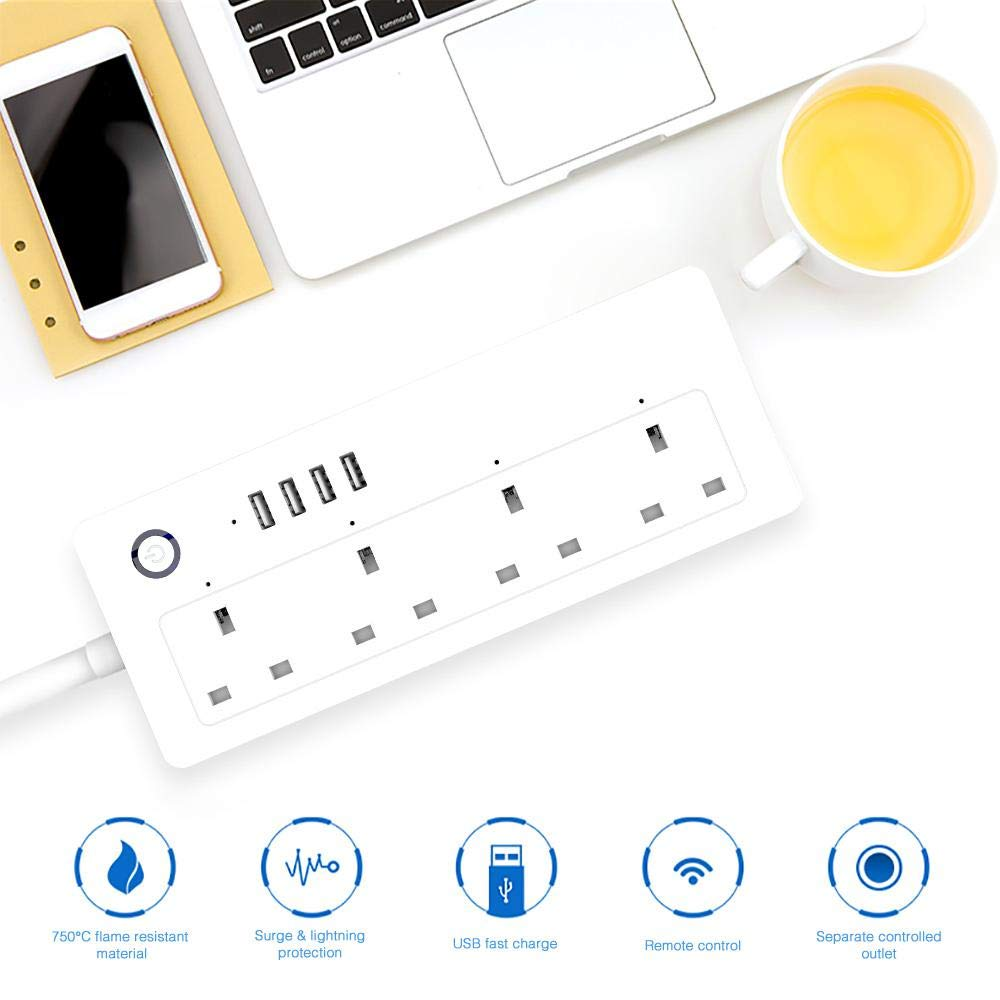 UK WiFi Smart Power Strip With USB Ports Compatible with Alexa and Google Assistant