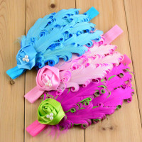 Lovely Cute Satin Ribbon Rose Feather Baby Girl Elastic Headbands with Pearl A463