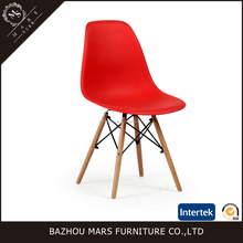 Modern colorful plastic dining chair with wooden legs LDC-122