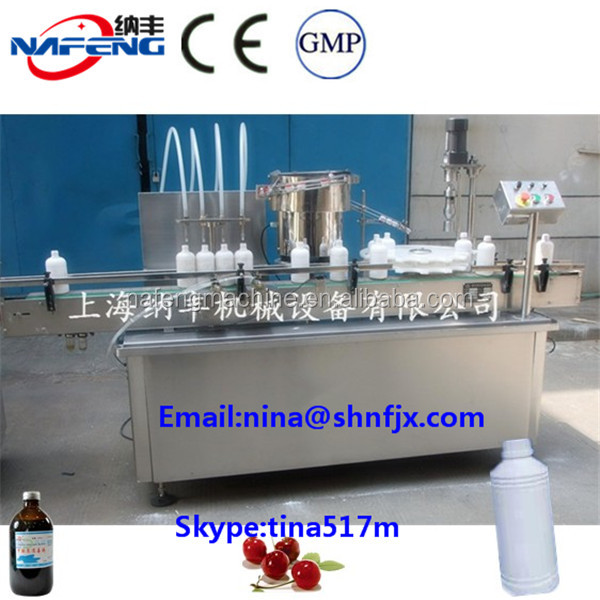 Automatic Large Bottle Shampoo / Cleansing Milk Filling Capping Machine