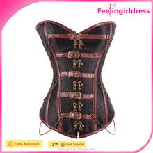 Wholesale Vintage 12 Steel Bone Brocade Steampunk Corset Free Shipping