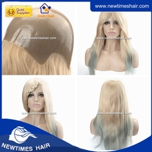 Blond color with blue tip beautiful hair Silicon Injected Wig For Women