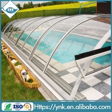 UNQ new hard swimming pool cover,strong swimming pool roofing,polycarbonate roofing sheet