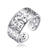 1.87gram In stock hollow open size pure value 925 silver ring, 925 silver jewelry plain silver ring
