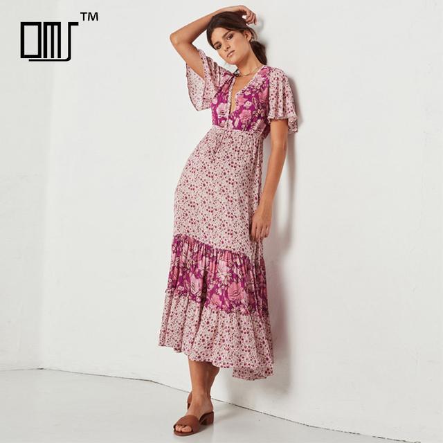 Boho vintage spring 2018 rayon printed bat sleeve flowy floral long dresses