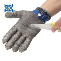 Level 5 cut resistant stainless steel safety protection full 5 and 3 finger chainmail gloves