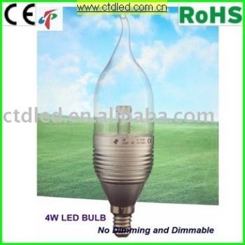 Dimmable led candle flame bulb with 4W power consumption and E14 base