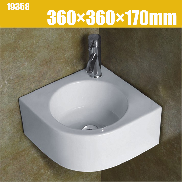 360mm white porcelain wall hung small corner toilet sink basin bathroom