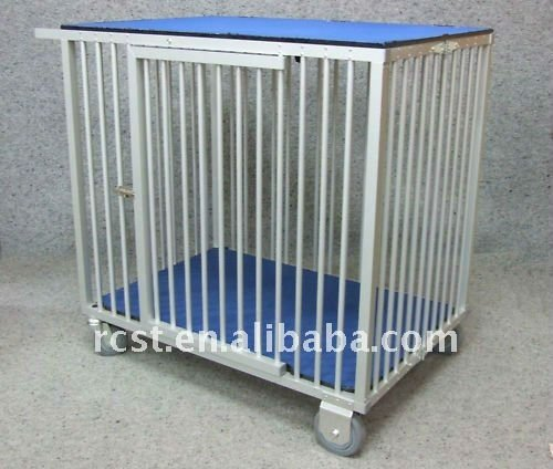 folding collapsible aluminum pet dog cage trolley