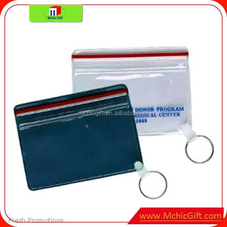 pvc keyring atm card holder student id card holder