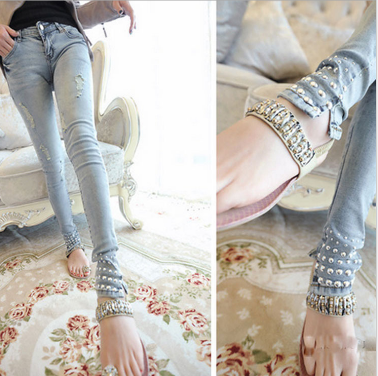 W70955G 2015 ladies jeans top design wholesale women jeans pants manufacturers china with rivet