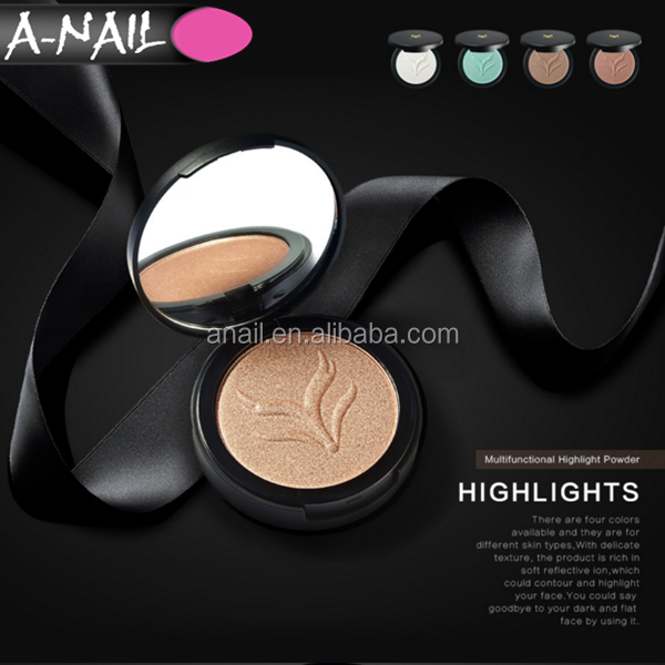 Professional Smooth Skin Nude Makeup Foundation Cosmetic Compact Pressed Highlighter Makeup Powder + Silky Powder Puff