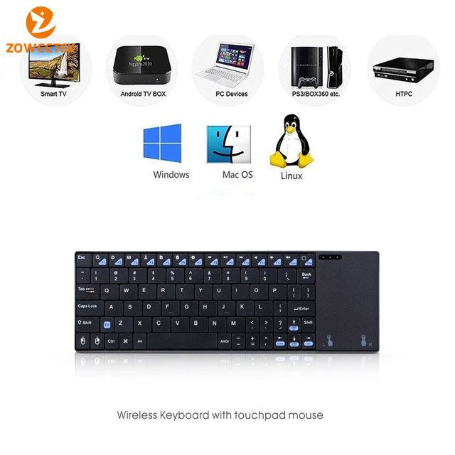 Multifunction mini ultra slim wireless QWERTY keyboard with touchpad
