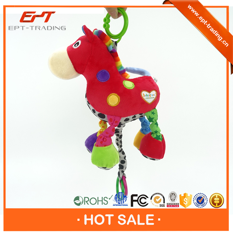 Musical funny pull string horse toy for children
