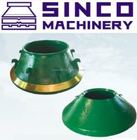 Cone crusher parts manganese steel concave mantle liner and bowl liner for Metso,Terex,Powerscreen Pegson