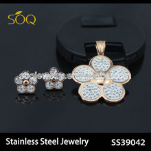 New Fashion Rose Gold Plated Stainless Steel Flower Charms Necklace & Earrings with CZ Diamond Jewelry set