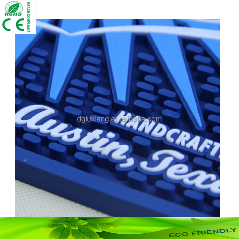 Custom individual bar nonslip mat china supplier promotional fashion square branded custom rubber beer biggie logo