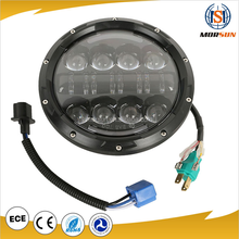 80w high power led motorcycle light 7'' led headlight chrome 12v round 7inch headlight for Jeep