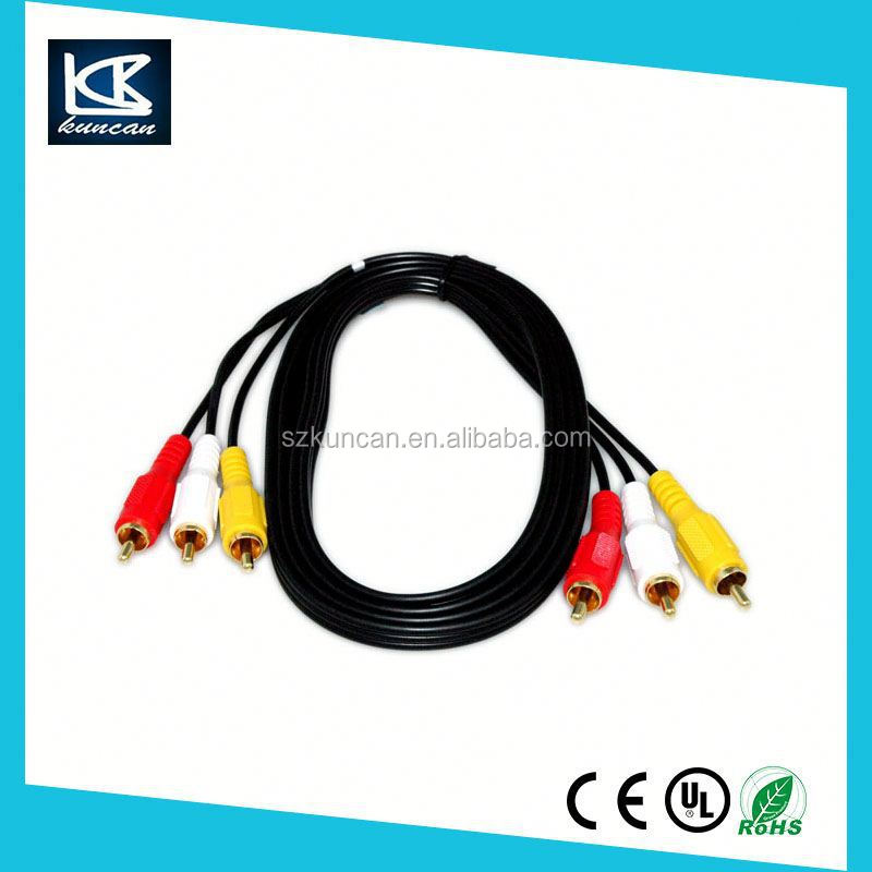 3 RCA Male to 3 RCA Male Composite Audio Extension Cable AV Cable 2M