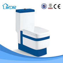 Bathroom One Piece Siphonic Toilet In Blue Color W9073A