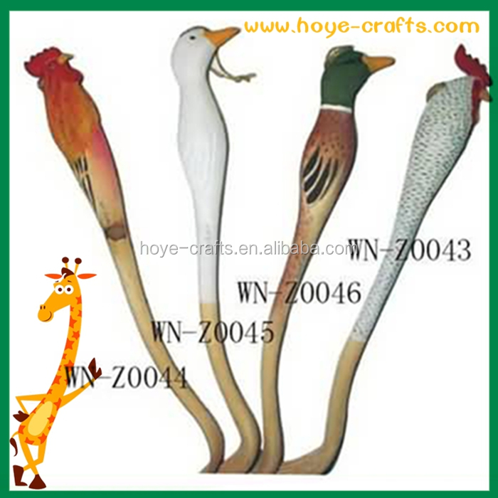 wooden hand carved farm animal cock shaped back scratcher