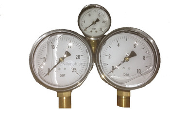 Metal case glycerine or silicone oil filled pressure gauge