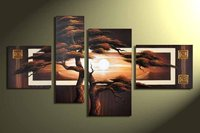 hand-painted oil wall art Forest sun Home Decoration Modern Abstract landscape Oil Painting on canvas 5pcs/set mixorde Framed