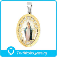 L-P0636 Catholic Pendant Stainless Steel Heart Pendant Necklace Gold Virgin Mary Heart Madonna Goddess Our lady of Guadalupe