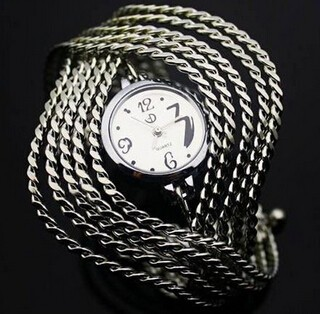 Charm Wave Bangle Bracelet Round Stainless Steel Chain Ladies Gift Women Wrist Watch